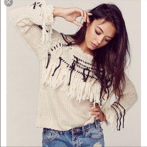 Knitz For Love & Lemons Denver Fringe Sweater XS